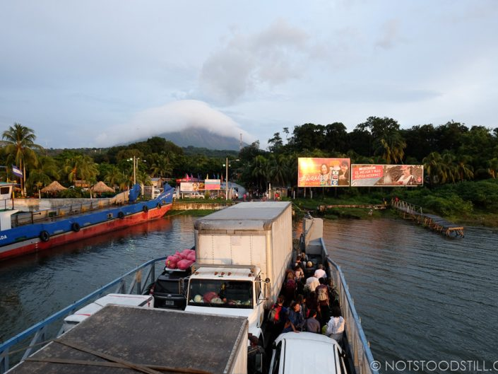 Arriving into Ometepe, with our first glimpse of Concepción Volcano shrouded in cloud.
