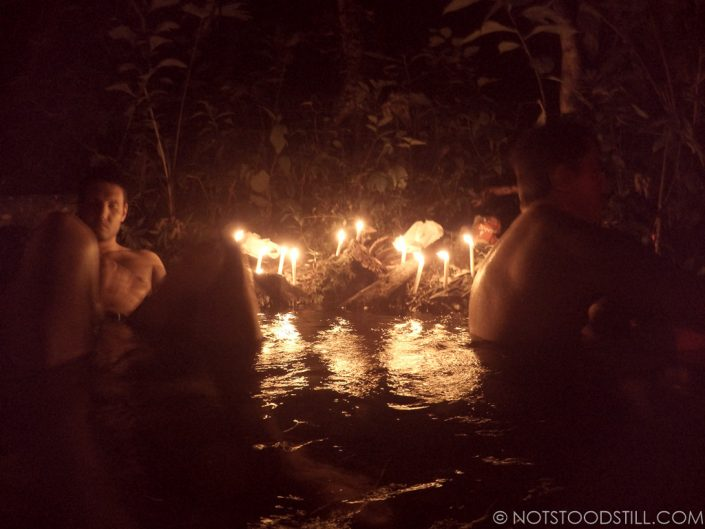 Relaxing at the free hot springs in La Fortuna