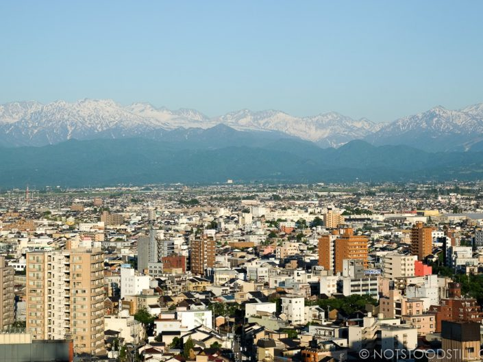 Toyama city as viewed from the City Hall Tower