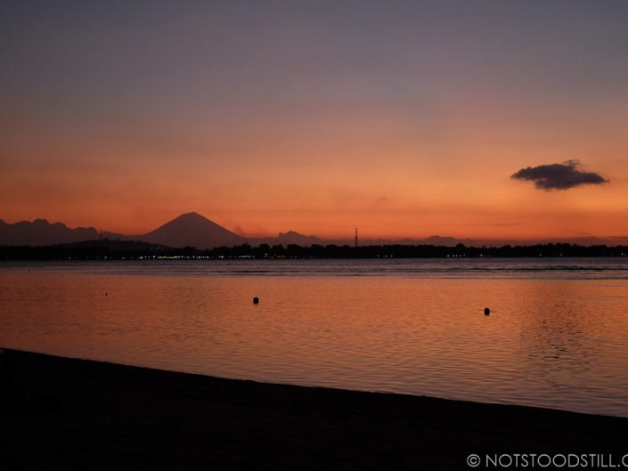 Sunset on Gili Air, Mt. Agung in the distance