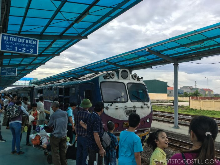 Catching the train, Ninh Binh Station