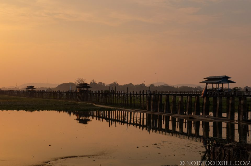 U Bein Bridge, Mandalay. The best time to come is sunset.
