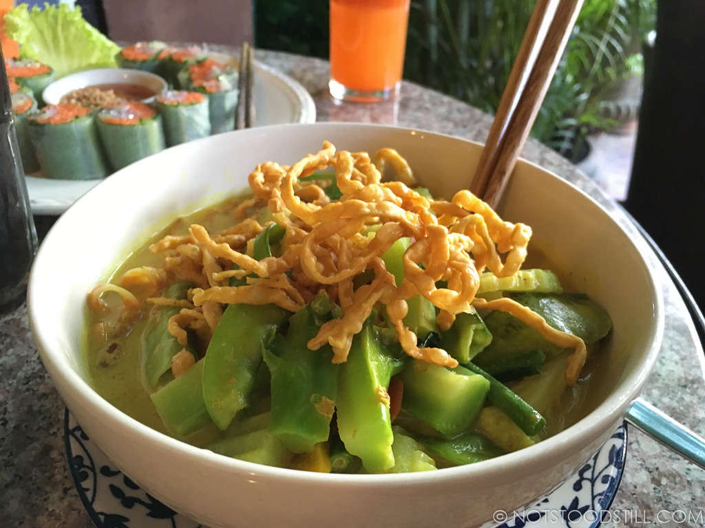 Khao Soi, a must try when in Chiang Mai. It is a Burmese influenced curry noodle dish.