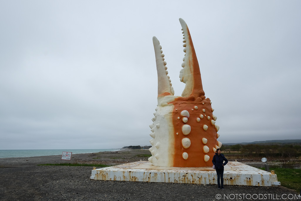 End of the road at Monbetsu, greeted with this giant crab claw